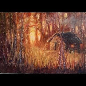 Original oil painting cabin sunset Landscape art